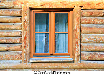 modern window in wood house - modern window in old wood...