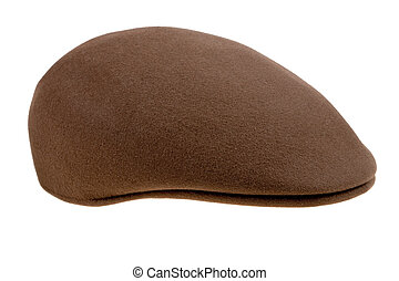 brown felt cap - brown felt mans cap isolated on white