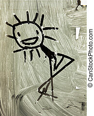 Stick Figure In Window - A informal figure sketched with a...