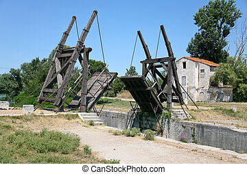 drawbridge in country side - drawbridge Van Gogh bridge...