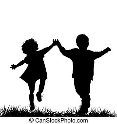 Children running - Silhouettes of a boy and a girl running
