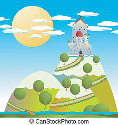Castle drawing - Cartoon background with a medieval castle