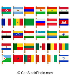 World flag icons set 2 - World flag icons set over white...