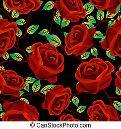 Roses over black pattern - Seamless background design with...