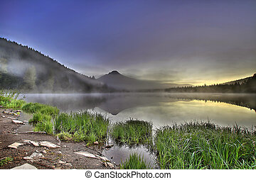Foggy Sunrise at Trillium Lake with Mount Hood