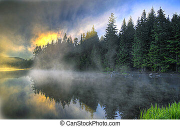 Sunrise Over Trillium Lake Oregon - Sunrise and Reflection...