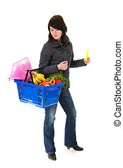 Shopping woman in the supermarket - shopping blond woman in...