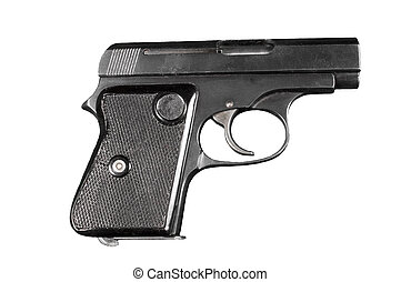 semi-automatic pistol isoalted on a awhite background