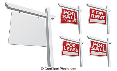 Set of Various Vector Real Estate Signs - Blank, For Sale By...
