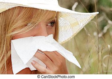 adolescente, mulher, alergia
