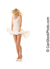 Woman in white skirt - Blond sexy woman in white skirt...