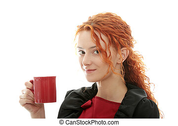 Beautiful deaf woman drinking coffee isolated on white
