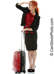 Business travel - Young redhead businesswoman deaf with...