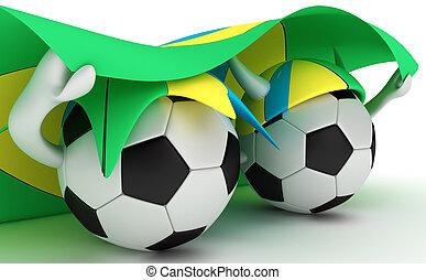 Two soccer balls hold Brazil flag - 3D cartoon Soccer Ball...