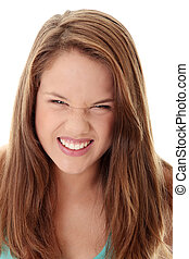 Beautiful Angry Teenager - Close Up Shot of a Beautiful...