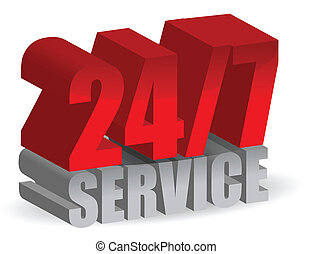 247 service 3d illustration isolated over a white background...
