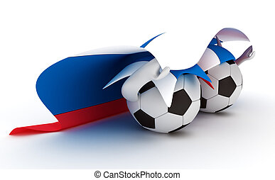 Two soccer balls hold Russia flag - 3D cartoon Soccer Ball...