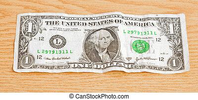 dollar on table