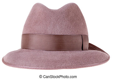 brown felt mans hat fedora isolated on white