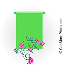 vector green scroll with flowers