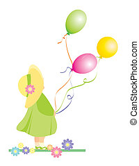 vector girl with color baloons