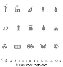Environmental symbols icon set - Environment friendly...