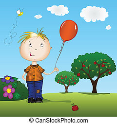 Child holding a balloon - Boy holding a balloon outdoors on...
