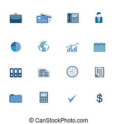 Business Symbols Icon Set - Various business icons in blue...