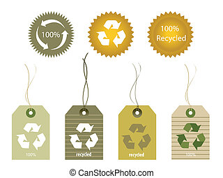 Recycled Tags - Various shapes of recycled materials tags
