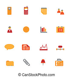 Business Icon Set - Business icons and symbols in orange and...