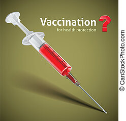syringe with vaccine color illustration