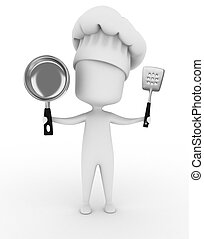 Chef - 3D Illustration of a Chef Holding Kitchen Utensils