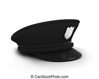 Police Cap - 3D Illustration of a Police Security Guard Cap...