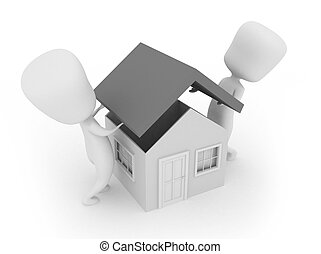 Roofing - 3D Illustration of Two Men Putting the Roof of a...