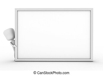 Man Hiding Behind a White Board - 3D Illustration of a Man...