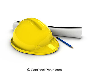 Hard Hat and Blueprint