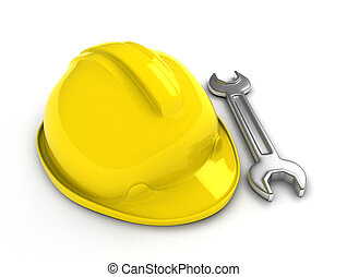 Hard Hat and Wrench - 3D Illustration of a Hard Hat and...