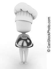 Chef - 3D Illustration of a Chef Holding a Serving Tray