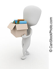 Man Carrying a Box - 3D Illustration of a Man Carrying a Box...