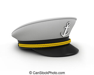 Ship Captain's Cap - 3D Illustration of a Ship Captain's Cap