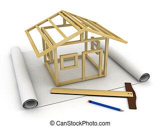 modello, scheletro, casa