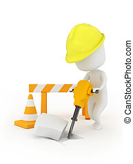 Man at Work - 3D Illustration of a Man Using a Jackhammer