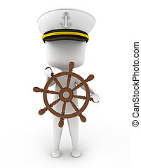 Ship Captain - 3D Illustration of a Ship Captain