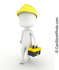 Man Carrying a Toolbox - 3D Illustration of a Man Carrying a...