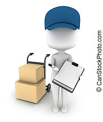 Delivery Man - 3D Illustration of a Delivery Man Delivering...