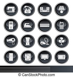 Electrical Appliances Icons Set  - Illustration vector