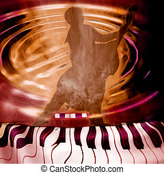 jazz music background - background musician playing piano...
