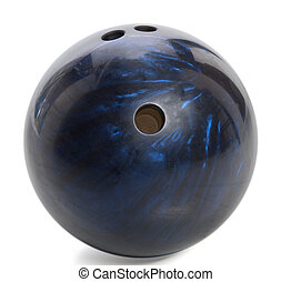 bowling ball - blue marbled bowling ball isolated on white
