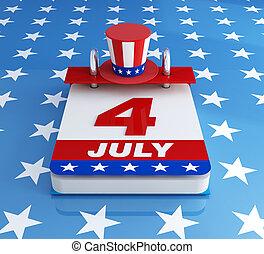 fourh of july calendar on starry background