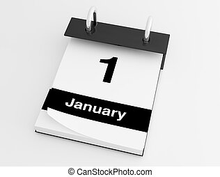 first january desktop calendar isolated on white - rendering